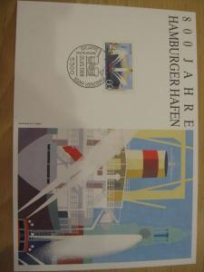 Stempelkarte, Erinnerungskarte  800 Jahre Hamburger Hafen