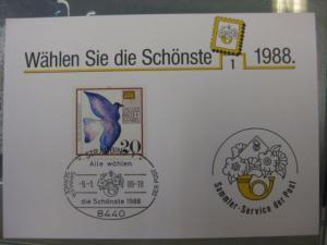 Stempelkarte, Erinnerungskarte  Wahl der Schönsten 1988