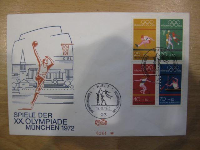 FDC XX. Olympiade München 1972 mit 4er-Block aus Markenheft