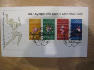 Block Olympische Spiele München 1972 auf FDC
