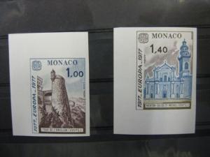 CEPT EUROPA-UNION Monaco 1977  Mi.-Nr. 1273-74 U, ** ungezähnt geschnitten