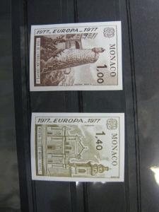 CEPT EUROPA-UNION Monaco 1977  Mi.-Nr. 1273-74 U, Farbprobe ** ungezähnt geschnitten