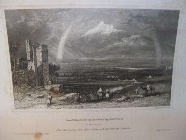 Lithografie aus der Kunstanstalt des Bibliografischen Institutes Hildburghausen:  Berg Ararat in der Höhe von Eriwan