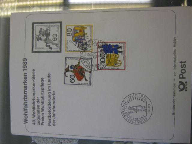 Erinnerungskarte Stempelkarte Ausstellungskarte Sammelkarte Motivkarte der Post: Wohlfahrtsmarken Berlin 1989