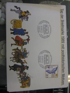 Stempelkarte, Erinnerungskarte, Sammelkarte, Ausstellungskarte der Post: NAPOSTA & IPHLA `89 in Frankfurt