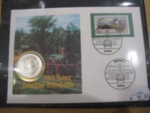 Numisbrief, Münzbrief Bundesrepublik Deutschland: 150 Jahre Deutsche Eisenbahn
