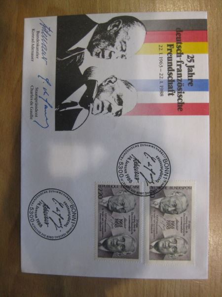 Erstagsbrief FDC der Gemeinschaftsausgabe Deutschland-Frankreich 25 Jahre Deutsch-Französischer Vertrag Adenauer - De Gaulle