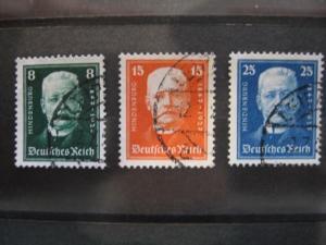 Deutsche Nothilfe 1927, Hindenburg, Michel-Nr. 403-405
