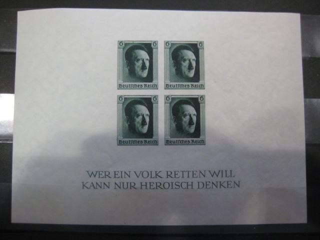 Deutsches Reich, III. Reich  Block 8 Hitler-Block geschnitten / ungezähnt