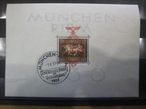 Deutsches Reich, III. Reich, Block 10, Braunes Band mit Überdruck