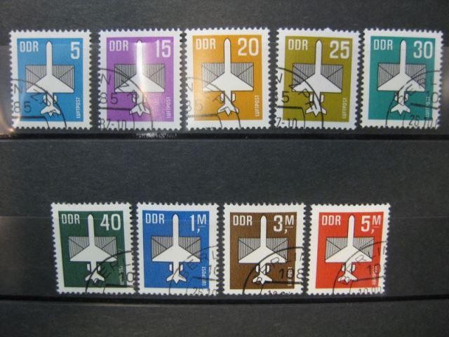 Flugpost, komplette Serie von 9 Marken