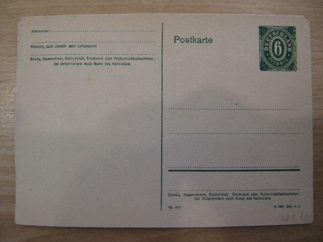 Ganzsache Postkarte Amerikanische Zone, Michel-Nr. 901 b Dauerausgabe RPD Stuttgart