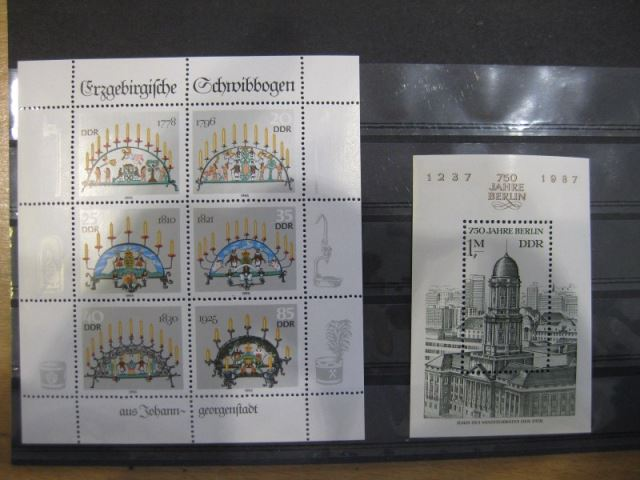 DDR Jahrgang 1986  mit: 46 Marken, 4 Blocks, 7 Zusammendrucke und 3 Kleinbogen, postfrisch, ** mit ausschließlich kompletten Sätzen
