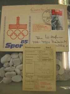 DDR Einschreibemarke für SbPÄ:  Berlin 90. IOC Session 1985 auf Brief