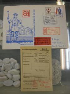 DDR Einschreibemarke für SbPÄ:  DDR 84 Halle, auf Brief; als Eilsendung, teils mit Bahnpost befördert