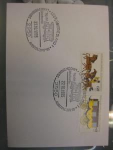 Sonderstempel Tag der Briefmarke Leer/Ostfriesland 1985 Motiv Eisenbahnwagen, Frankatur MOPHILA 1985 Hamburg Zusammendruck