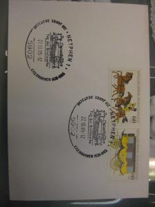 Sonderstempel Tag der Briefmarke Netphen 1985 Motiv Eisenbahnwagen, Frankatur MOPHILA 1985 Hamburg Zusammendruck