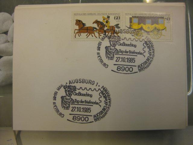 Sonderstempel Tag der Briefmarke auf MOPHILA-Hamburg 1985 Zusammendruck, Michel-Nummer 1255-56, Augsburg 1985