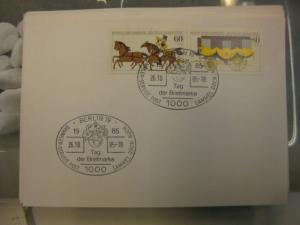 Sonderstempel Tag der Briefmarke auf MOPHILA-Hamburg 1985 Zusammendruck, Michel-Nummer 1255-56, Berlin 1985