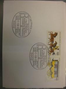 Sonderstempel Tag der Briefmarke 1986, Netphen  auf Zusammendruck MOPHILA Hamburg 1985, Michel-Nummer:1255-56