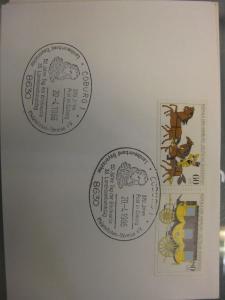 Sonderstempel Tag der Briefmarke 1986, Coburg  auf Zusammendruck MOPHILA Hamburg 1985, Michel-Nummer:1255-56