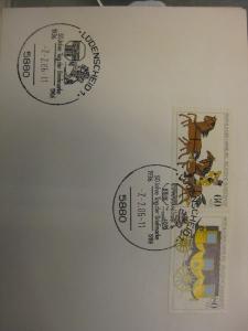 Sonderstempel Tag der Briefmarke 1986, Lüdenscheid  auf Zusammendruck MOPHILA Hamburg 1985, Michel-Nummer:1255-56