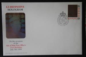 Hologramm, Isle of Man, Dauerserienmarke 5 Pfund auf FDC 1994