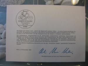 Ministerkarte, Klappkarte klein, Typ V,  Sorbische Sagen 1991, mit Faksimile-Unterschrift des Ministers Schwarz-Schilling