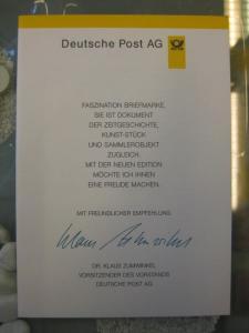 Klappkarte der GD Post, Faltkarte Typ DP1, DS Sehenswürdigkeiten 47 Pf. 1997 mit Faksimile-Unterschrift Klaus Zumwinkel ; Nachfolgekarten der Ministerkarten Typ V
