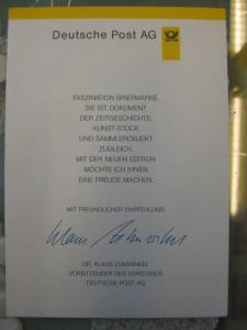 Klappkarte der GD Post, Faltkarte Typ DP1, DS Sehenswürdigkeiten 510 Pf. 1997 mit Faksimile-Unterschrift Klaus Zumwinkel ; Nachfolgekarten der Ministerkarten Typ V