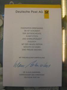 Klappkarte der GD Post, Faltkarte Typ DP1, DS Sehenswürdigkeiten 220 Pf. 1997 mit Faksimile-Unterschrift Klaus Zumwinkel ; Nachfolgekarten der Ministerkarten Typ V