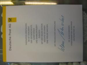 Klappkarte der GD Post, Faltkarte Typ DP1, DS Sehenswürdigkeiten 110 Pf. 1997 mit Faksimile-Unterschrift Klaus Zumwinkel ; Nachfolgekarten der Ministerkarten Typ V