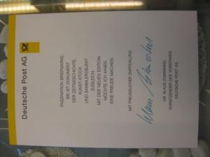 Klappkarte der GD Post, Faltkarte Typ DP1, DS Bedeutende Frauen 110 Pf. 1997 mit Faksimile-Unterschrift Klaus Zumwinkel ; Nachfolgekarten der Ministerkarten Typ V