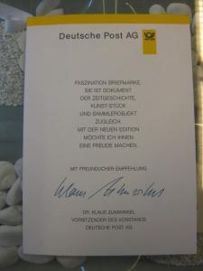Klappkarte der GD Post, Faltkarte Typ DP1, DS Bedeutende Frauen 220 Pf. 1997 mit Faksimile-Unterschrift Klaus Zumwinkel ; Nachfolgekarten der Ministerkarten Typ V