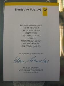 Klappkarte der GD Post, Faltkarte Typ DP1, DS Bedeutende Frauen 300 Pf. 1997 mit Faksimile-Unterschrift Klaus Zumwinkel ; Nachfolgekarten der Ministerkarten Typ V