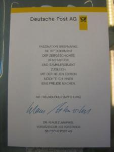 Klappkarte der GD Post, Faltkarte Typ DP1, DS Bedeutende Frauen 100 Pf. 1997 mit Faksimile-Unterschrift Klaus Zumwinkel ; Nachfolgekarten der Ministerkarten Typ V