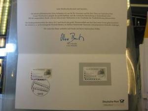 Amtlicher Schwarzdruck der Marke Tag der Briefmarke 2012 auf Karte - Ein Philatelistisches Dankeschön - der Deutsche Post - Philatelie