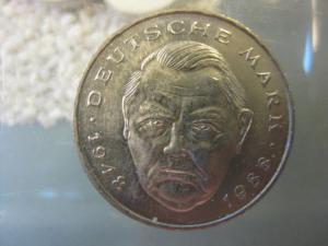 2 DM Gedenkmünze Ludwig Erhard 1988 F