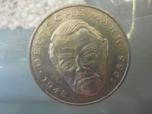 2 DM Gedenkmünze Ludwig Erhard 1990 F
