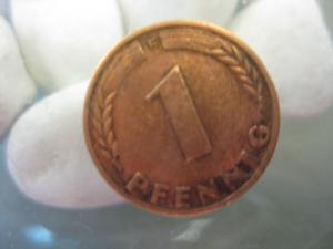 1 Pfennig, 1950 F, Münze Stuttgart