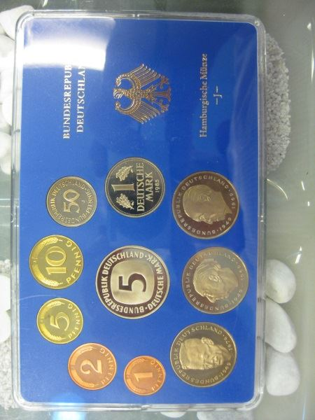 DM Kursmünzensatz, 1983, Münzstätte Hamburg, J, Polierte Platte, PP, Proof, Spiegelglanz