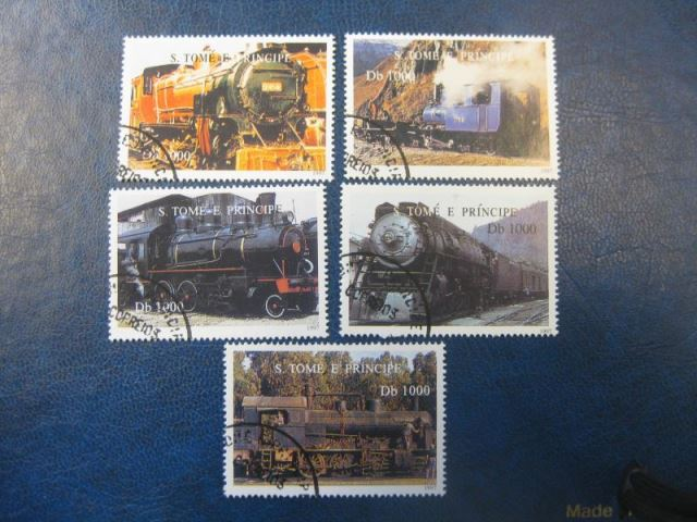 Eisenbahn, 5 Werte, S. Tome e Principe