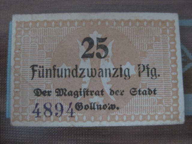 Notgeld Gollnow, 25 Pf.