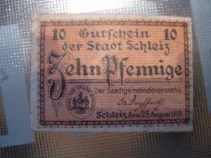Notgeld Schleiz, 10 Pf.