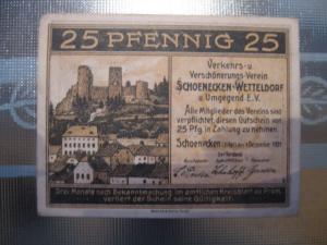 Notgeld Schoenecken-Wetteldorf, 25 Pf.
