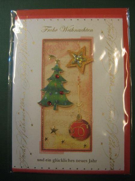 Weihnachtskarte, 3D-Karte, Klappkarte mit Umschlag
