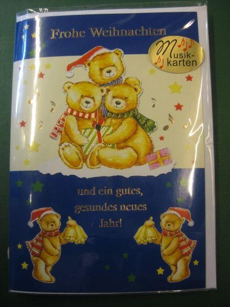 Weihnachtskarte, Musikkarte, Klappkarte mit Umschlag