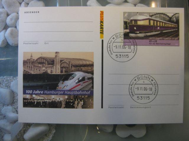 Pluskarte Sonderpostkarte PSo 94, 100 Jahre Hamburger Hauptbahnhof