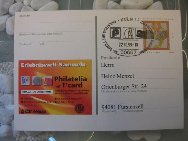 Sonderpostkarte PSo61, PHILATELIA mit T-card `99 Köln