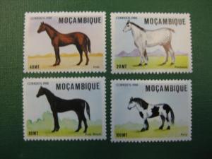 Pferde, 4 Werte, Mocambique, 1988